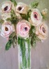 A Vase Of Pink Roses Abstract artist