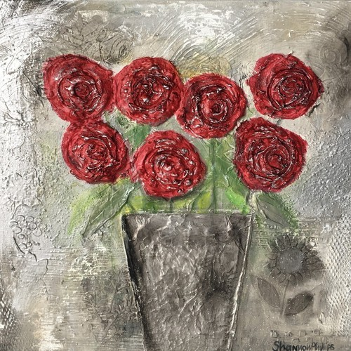 red rose flowerpots