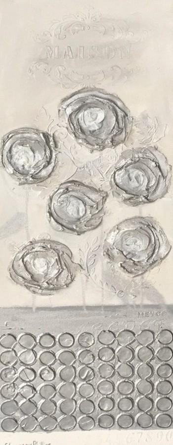 Silvery rose flower pot
